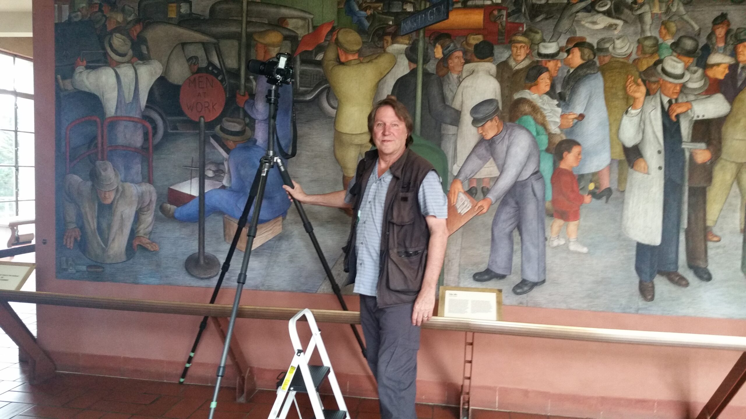 Bennett photographing Coit Tower murals